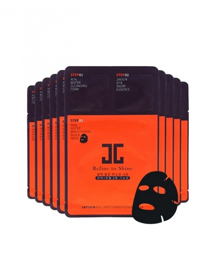 JAYJUN REAL WATER BRIGHTENING BLACK MASK PACK - 10PCS